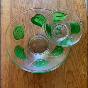 Other - Vintage Glass Chip and Dip Bowl Set Green Leaf